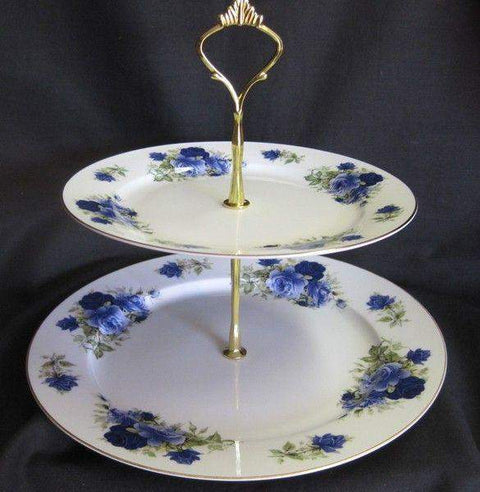 2 Tier Summertime Blue Bone China Cake Stand - Roses And Teacups