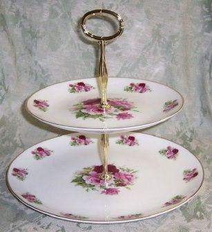 2-Tier Summertime Pink Bone China Cake Stand - Roses And Teacups