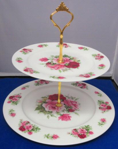 2 Tier Summertime Pink Roses English Bone China Cake Stand Made in England-Roses And Teacups