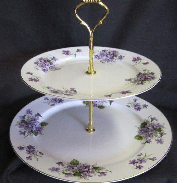 2 Tier Wild Violets Bone China Cake Stand - Roses And Teacups
