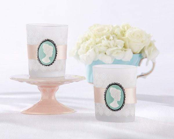 24 Cameo Glass Tea Light Candle Bridal Wedding Favors - Roses And Teacups