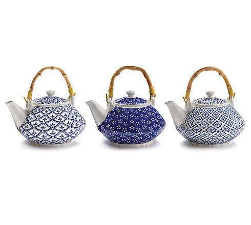3 Assorted Blue and White Teapots - Roses And Teacups