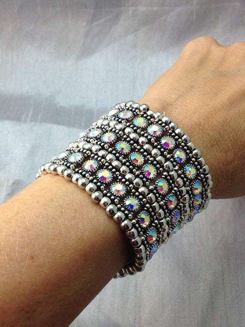 3-Row AB Crystal Bracelet - Roses And Teacups