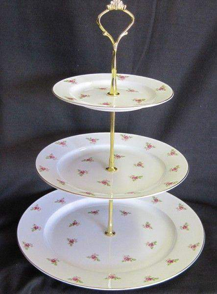 3 Tier Dot Rose Bone China Cake Stand - Roses And Teacups