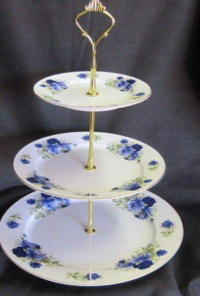3 Tier Summertime Blue Bone China Cake Stand - Roses And Teacups