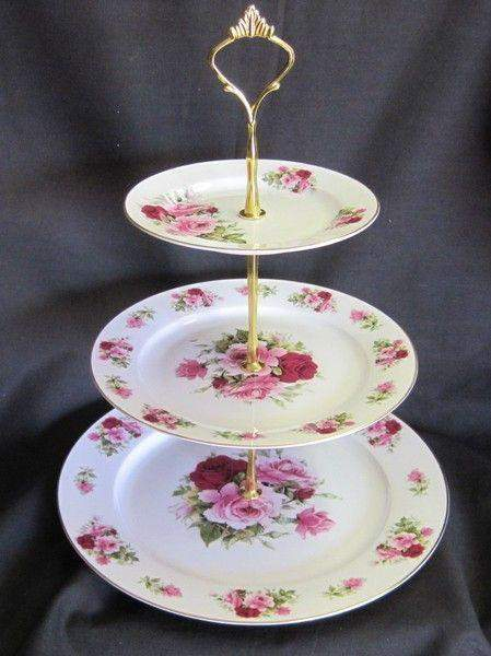 3 Tier Summertime Pink Bone China Cake Stand - Roses And Teacups