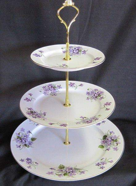 3 Tier Wild Violet Bone China Cake Stand - Roses And Teacups