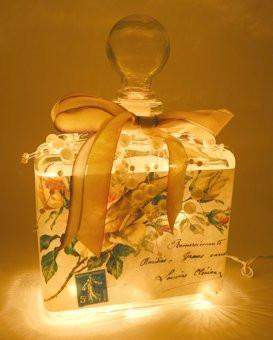 #3 Yellow Roses Perfume Bottle Nightlight ( Night Light ) - Roses And Teacups
