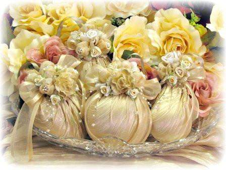 4 Champagne Gold Handmade Victorian Ornaments - Roses And Teacups