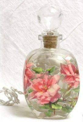 #4 Pink Roses Perfume Bottle Nightlight ( Night Light ) - Roses And Teacups