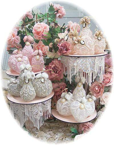 4 Signature Lace Ornaments USA Handcrafted Victorian Ornaments - Roses And Teacups