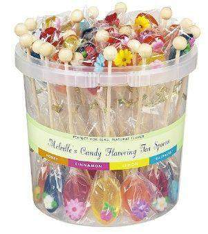 50 Individually Wrapped Assorted Naturally Flavored Tea Spoons-Roses And Teacups