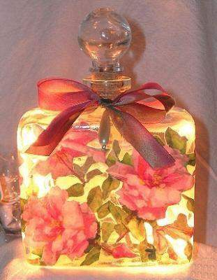 #6 Pink Roses Square Perfume Bottle Nightlight ( Night Light ) - Roses And Teacups