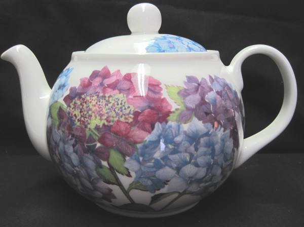 6C Hydrangea English Bone China Teapot - Roses And Teacups