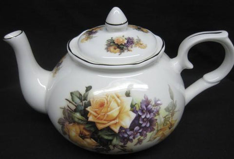 6C Sando Yellow English Bone China Teapot - Roses And Teacups