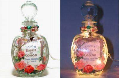 #8 French Roses Perfume Bottle Nightlight ( Night Light ) - Roses And Teacups