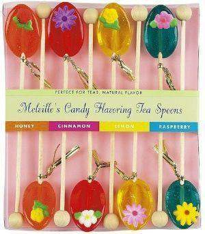 8 Pack of Flowers Honey Tea Spoons in Assorted Flavors-Roses And Teacups