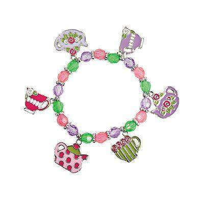 8 Tea Party Stretch Charm Bracelets - Roses And Teacups