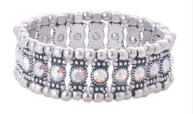 AB Crystal Stretch Bracelet - Roses And Teacups