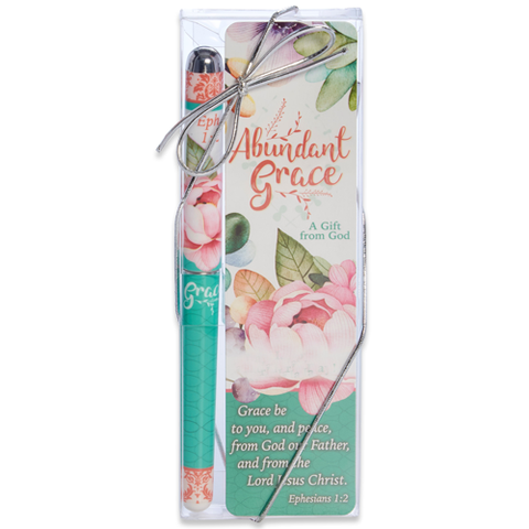 Abundant Grace Scripture Bookmark and Pen Set - Roses And Teacups