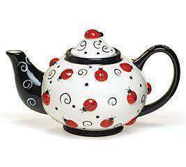 Adorable Large Ladybug Teapot - Roses And Teacups