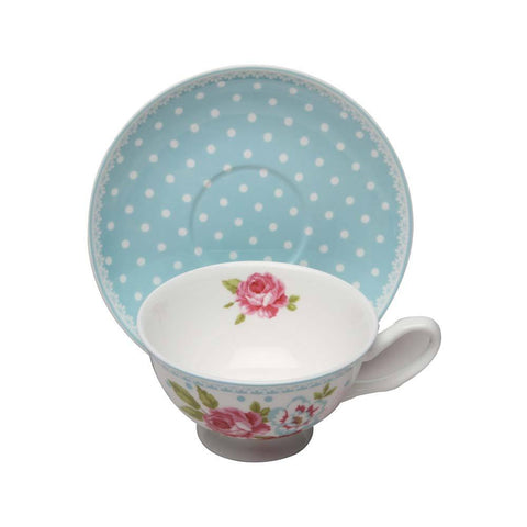 Alice's Garden Bone China Tea Cup and Saucer - Roses And Teacups