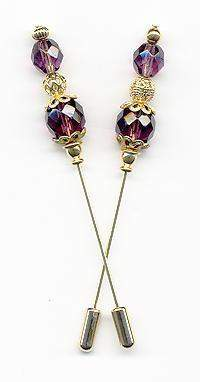 Amethyst and Gold Bead  3 inch Stickpins - Roses And Teacups