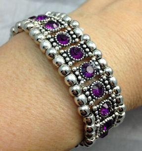 Amethyst Crystal Stretch Bracelet - Roses And Teacups
