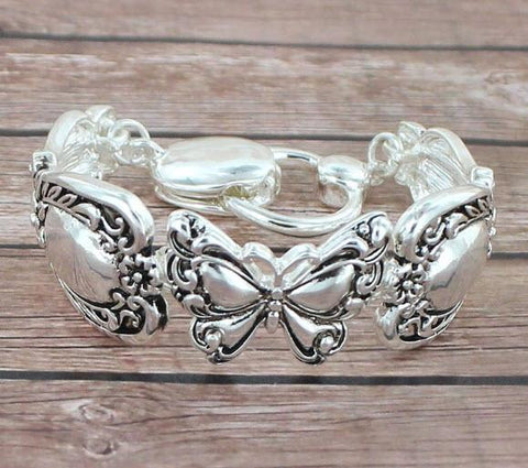 Antique Silvertone Butterfly Spoon Style Magnetic Bracelet - Roses And Teacups