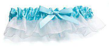 Aqua Satin Garter - Roses And Teacups