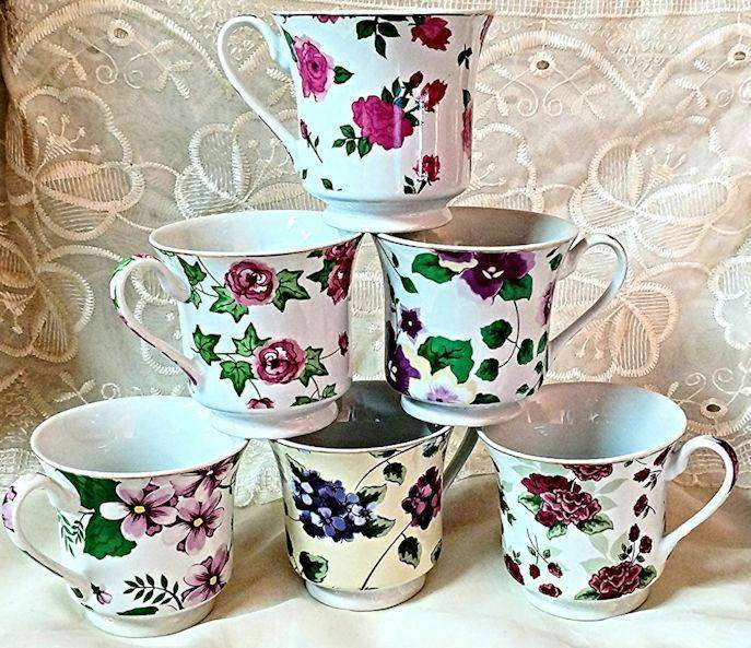 Assorted Chintz Teacups & Saucers Wholesale Set Of 6 FREE