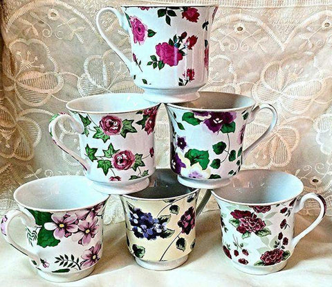 Assorted Floral Chintz Teacups & Saucers Set of 6 Wholesale Tea Cups Add More For FREE Shipping!! Limited Supply! - Roses And Teacups