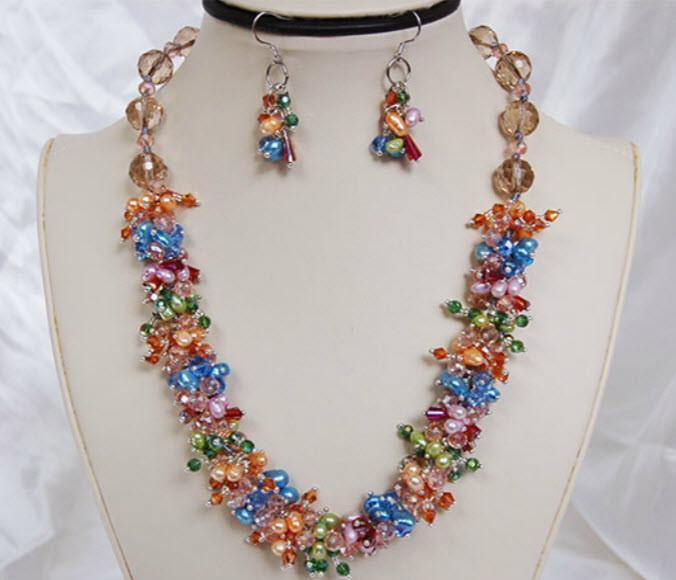 Autumn Breeze Pearl Necklace and Earrings F223 - Roses And Teacups