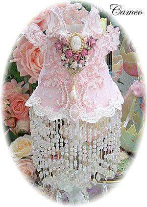 Baby Pink Beaded Cameo Shade - Roses And Teacups