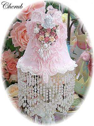 Baby Pink Beaded Lamp Shade with Cherub-Roses And Teacups