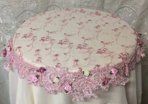 Beaded Lace Small Table Topper Pink - Roses And Teacups