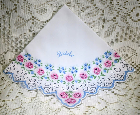 Beautiful Bride Scalloped Pink Roses Hankie - Roses And Teacups