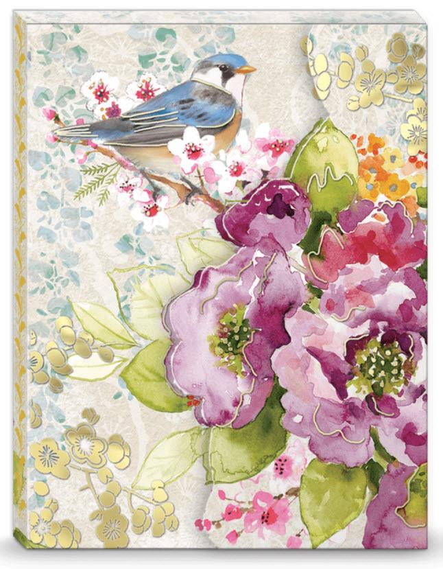 Bird Blossoms Pocket Note Pad - Roses And Teacups