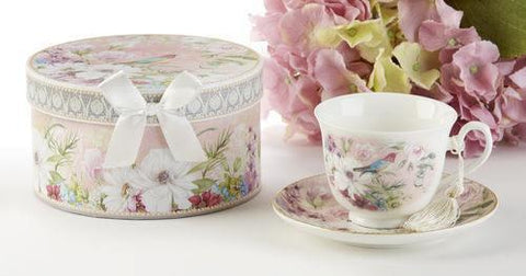 Bird of Paradise Gift Boxed Porcelain Teacup and Saucer-Roses And Teacups