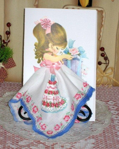 Birthday Cake Hankie Card - Roses And Teacups