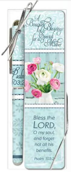 Bless the Lord Pen and Bookmark Gift Set - Roses And Teacups