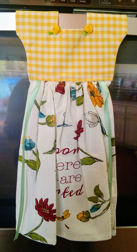 Bloom Where Your Planted Kitchen Oven  Dress Towel - Roses And Teacups