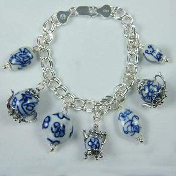 Blue and White Teapot Charm Bracelet - Roses And Teacups