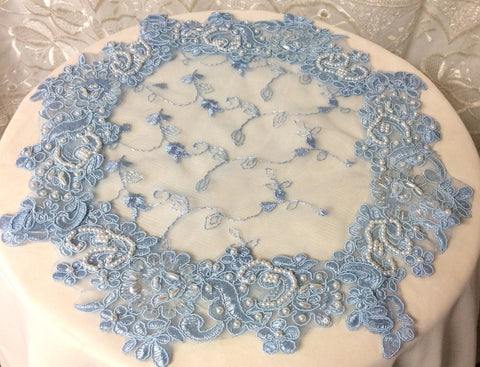 Blue Beaded Lace Doily - Roses And Teacups