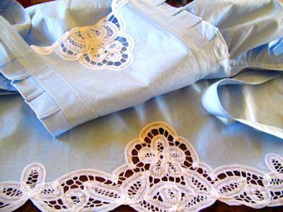 Blue & White Battenberg Lace Apron - Only 1 Available!-Roses And Teacups