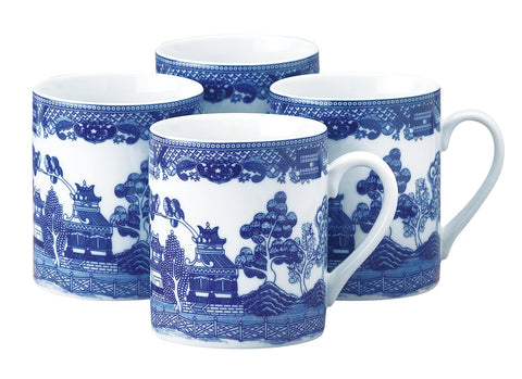 Blue Willow Porcelain Mugs Set of 4-Roses And Teacups