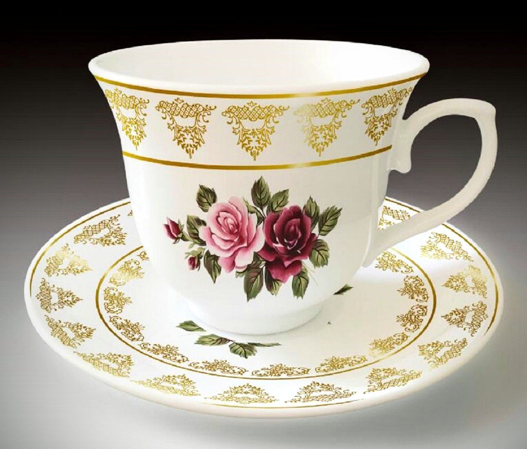 Blushing Pink and Burgundy Rose Porcelain Teacups and Saucers Set of 6 - Roses And Teacups