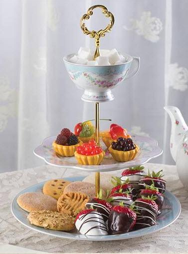 Bone China French Garland 3-Tier Dessert Cake Stand - Roses And Teacups