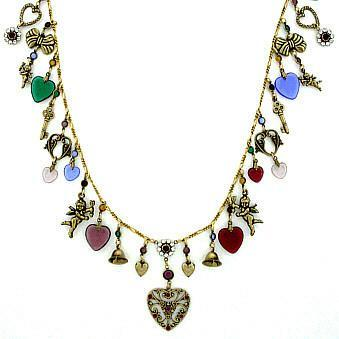 Brass 30-inch Cherub, Heart and Bells Necklace - Roses And Teacups
