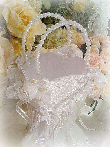Bridal Elegance Flower Girl Basket - Roses And Teacups